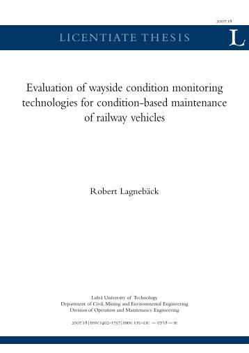 Evaluation of wayside condition monitoring technologies for ...