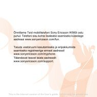 Õnnitleme Teid mobiiltelefoni Sony Ericsson W580i ostu puhul ...