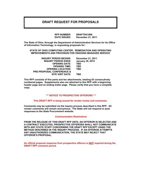 draft request for proposals - State Procurement - State of Ohio