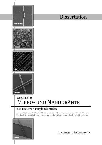 Organische Mikro- und Nanodrähte auf Basis von Perylendiimiden