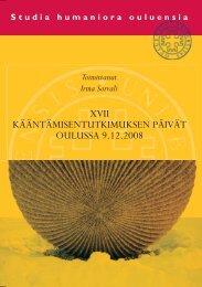 XVII Kääntämisentutkimuksen päivät Oulussa 9.12.2008