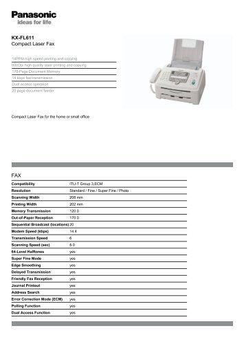 KX-FL611 Compact Laser Fax FAX - Panasonic Business