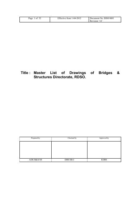 Master List of Drawings of Bridges & Structures Directorate