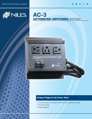 Specification Sheet - Niles Audio