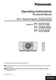 Operating Instructions PT-DW530E PT-DX500E - Panasonic Business