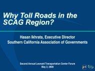 Why Toll Roads in the SCAG Region? - Leonard Transportation ...