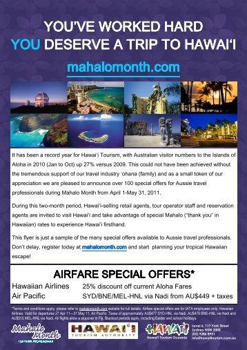 Mahalo Month 2011 Flyer - e-Travel Blackboard