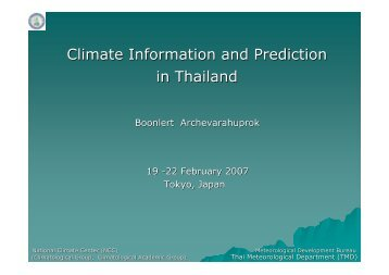 Climate Information and Prediction in Thailand