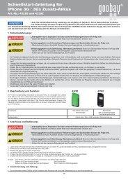 Schnellstart-Anleitung für iPhone 3G / 3Gs Zusatz-Akkus - Wentronic