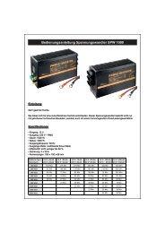 Bedienungsanleitung Spannungswandler SPW 1000 - Wentronic