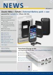 2010 Zusatz-Akku + Schale | External-Battery pack + case - Wentronic