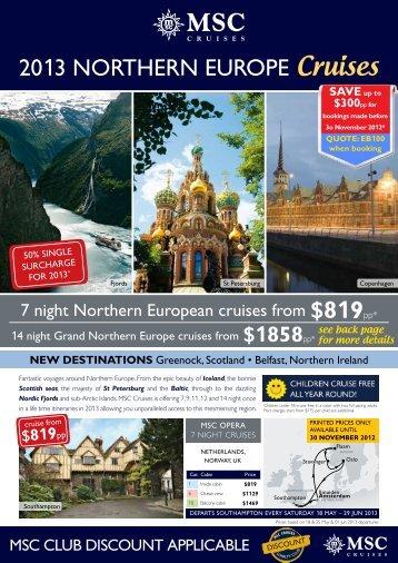 2013 NortherN europe Cruises - e-Travel Blackboard