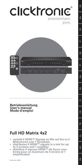 Full HD Matrix 4x2 - Wentronic