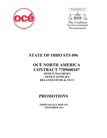 Promotional Price List dated August 2009 - State of Ohio