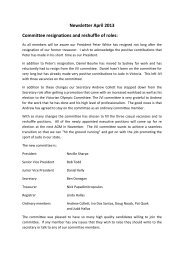 Newsletter April 2013 Committee resignations and reshuffle of roles: