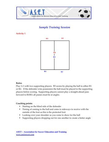Sample Training Session - Association for Soccer Education and ...