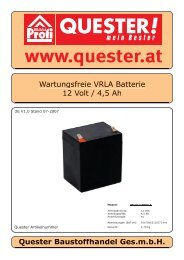 Wartungsfreie VRLA Batterie 12 Volt / 4,5 Ah Quester ... - Rotek