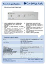 DacMagic Technical Specification - Cambridge Audio