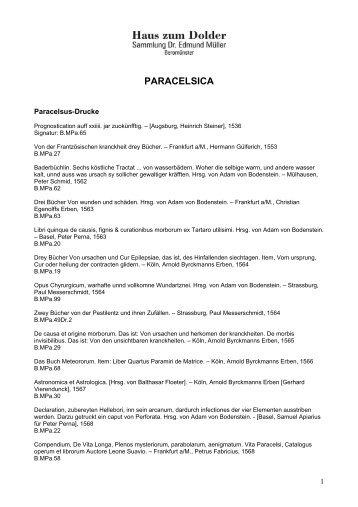 PARACELSICA - Haus zum Dolder