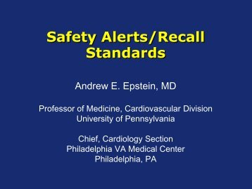 Safety Alerts/Recall Standards