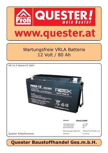 Wartungsfreie VRLA Batterie 12 Volt / 80 Ah Quester ... - Rotek
