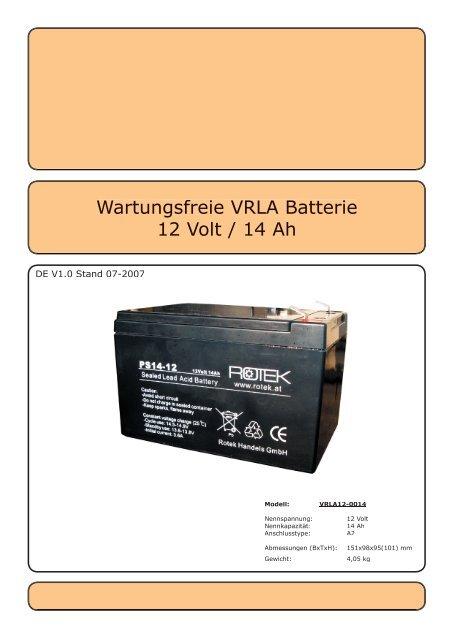 Wartungsfreie VRLA Batterie 12 Volt / 14 Ah - Rotek