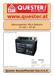 Wartungsfreie VRLA Batterie 12 Volt / 50 Ah Quester ... - Rotek