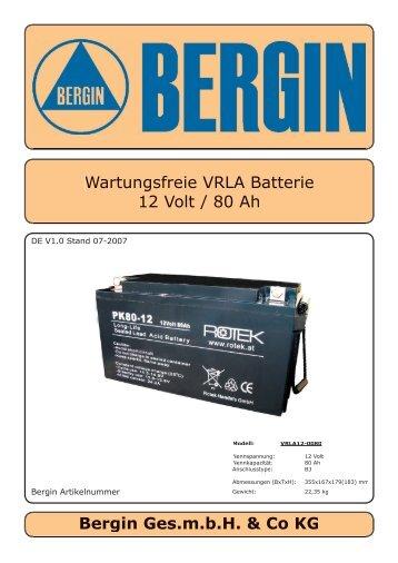 Wartungsfreie VRLA Batterie 12 Volt / 80 Ah Bergin Ges ... - Rotek
