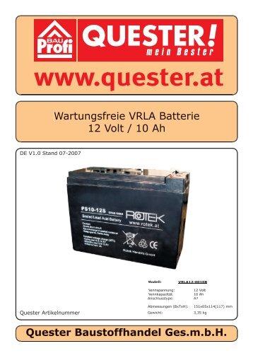 Wartungsfreie VRLA Batterie 12 Volt / 10 Ah Quester ... - Rotek