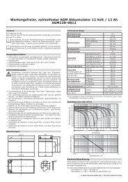 Wartungsfreier, zyklenfester AGM Akkumulator 12 Volt / 12 ... - Rotek
