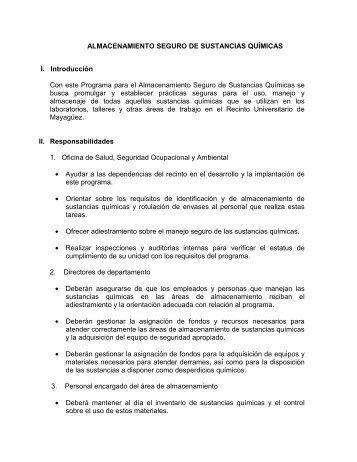 ALMACENAMIENTO SEGURO DE SUSTANCIAS QUÍMICAS I ...