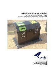 Resultaten 9e peiling: Elektrische apparaten en frituurvet, 2011-2012