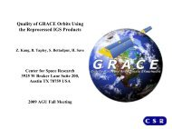 Quality of GRACE orbits using the reprocessed IGS products (2009)