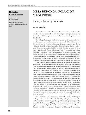 POLUCIÓN Y POLINOSIS - Alergología e Inmunología Clínica