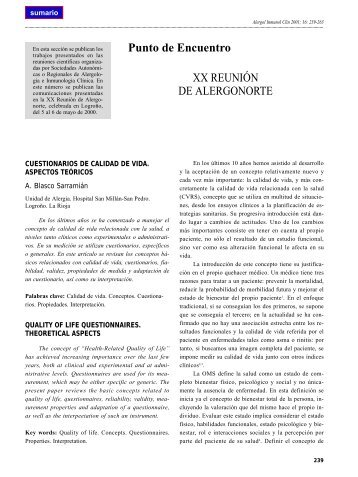 Cuestionarios de calidad de vida. Aspectos teóricos - Alergología e ...