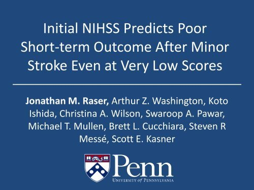 Initial NIHSS Predicts Poor Short-term Outcome After Minor Stroke ...