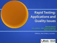 Rapid Testing: Applications & Quality Systems