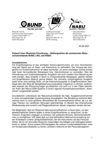 Stellungnahme der Naturschutzverbände zum Entwurf des MUNLV