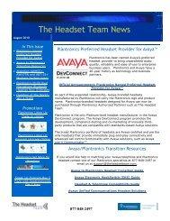 Plantronics Named Avaya Headset Partner - ABC Company ...