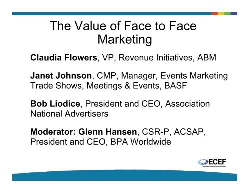 The Value of Face to Face Marketing