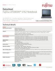 Datasheet Fujitsu LIFEBOOK® S762 Notebook