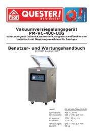 und Wartungshandbuch Vakuumversiegelungsgerät PM-VC ... - Rotek