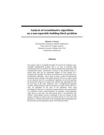 Analysis of recombinative algorithms on a non-separable building ...
