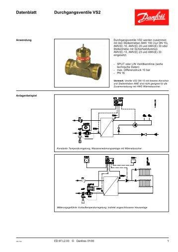 Datenblatt Durchgangsventile VS2 - Danfoss