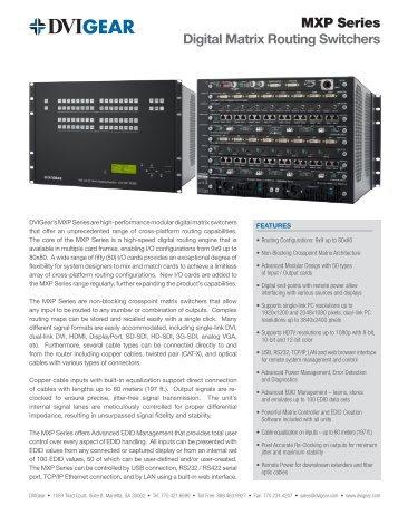 DVIGear: MXP Series - Digital Matrix Routing Switchers / Data Sheet