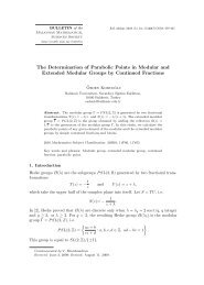The Determination of Parabolic Points in Modular and Extended ...