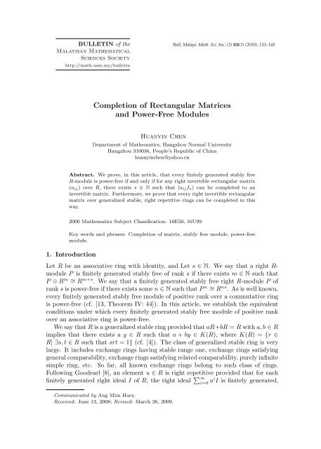 Completion of Rectangular Matrices and Power-Free Modules
