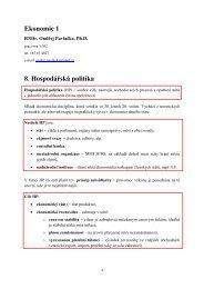 Ekonomie 1 8. Hospodářská politika
