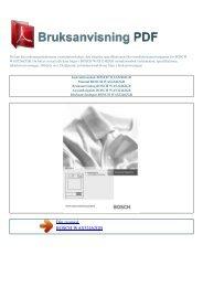 Instruktionsbok BOSCH WAS32462GB - BRUKSANVISNING PDF