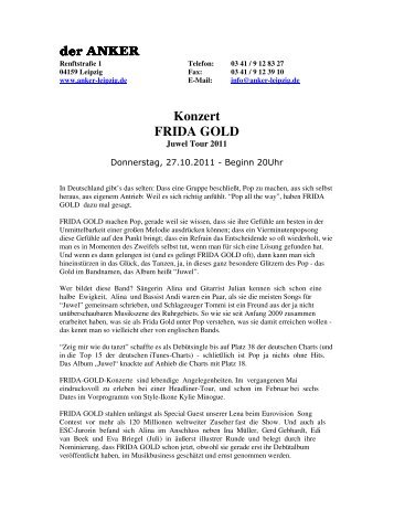 der ANKER der ANKER Konzert FRIDA GOLD